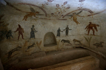 Drawings representing the funerary rituals are seen at Ancient Roman graves date back to the Roman period in Tripoli