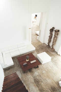 High angle view of living room decoration with polished concrete