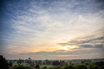Sunrise view and Balloon and Temples in Bagan Myanmar