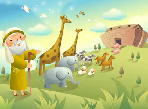 Noah gesturing and group of animals walking to an ark