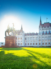 Hungarian Parliament with statue