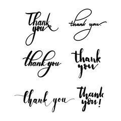 Thank you calligraphic lettering set in vector