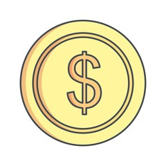 dollar Ecommerce Flat Outline Icon