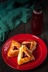 pies with cherries and drinks