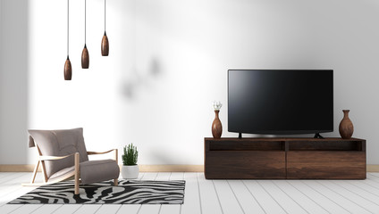 Smart Tv Mockup with blank black screen hanging on the wooden cabinet decor, modern living room zen style. 3d rendering