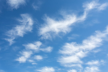 Beautiful blue sky with whispy white clouds - cirrus