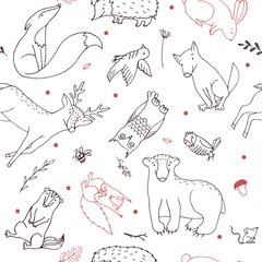Hand drawn line art cartoon doodle animal seamless pattern in vector. Repeated forest animal illustrations on the white background