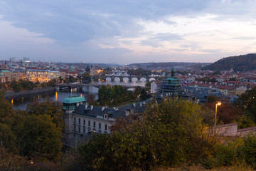 Night Prague City with with its Buildings, Towers, Cathedrals and Bridges, Czech Republic