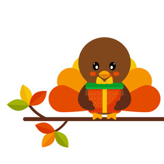 cartoon cute turkey with gift vector on a branch
