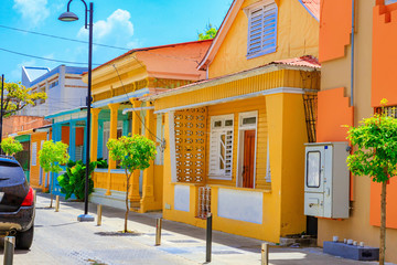 Typical yellow house in Puerto Plata, Dominican Republic. Beautiful and contemplative.