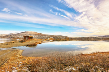 Two lakes Orkel and Masingtjoenna located very close to each other in  Oppdal area, Norway