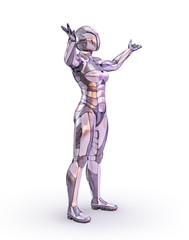 Woman robot standing outstretched arms. Android, humanoid or cyborg artificial intelligence technology concept. 3D illustration