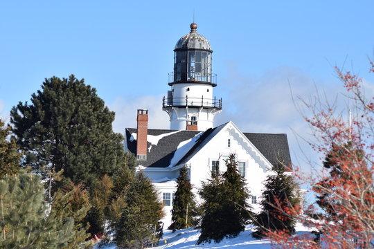 winter lighthouse snow ice