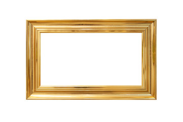 Wooden golden painted picture frame, isolated on white. With clipping path.