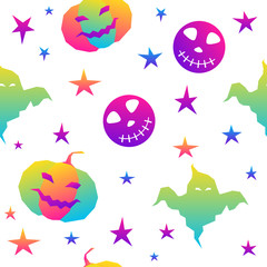 Abstract rainbow happy halloween seamless background. Modern pattern for halloween card, party invitation, menu, wallpaper, holiday shop sale, bag print, t shirt, workshop advertising etc.