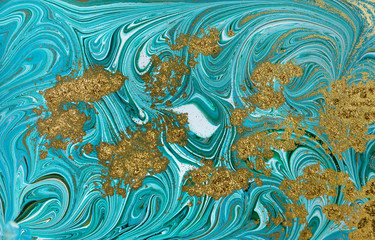 Marble pattern. Blue and green marbling background. Golden sequins