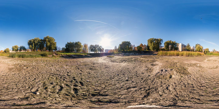 full seamless spherical panorama 360 degrees angle view at the bottom of dried up pond in garden of residential area in equirectangular projection, ready VR AR virtual reality content