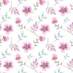 seamless pattern with flowers on white background, watercolor drawing