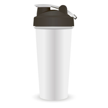 Sports nutrition protein shaker bottle template. White jar with black lid for gym and fitness. Quality vector illustration easy to modify.