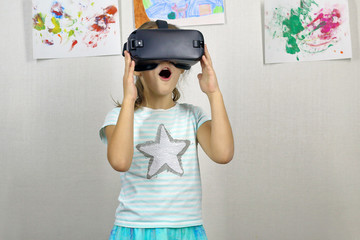 child with glasses of virtual reality