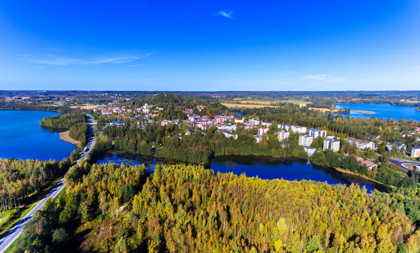 Aerial view of Kangasala, Finland, on a sunny day