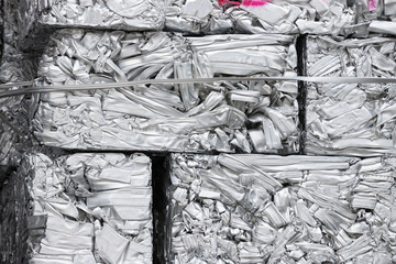 pressed aluminum scrap for recycle, silver metal recycling.