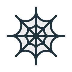 Spider Web Halloween Minimal Color Flat Line Stroke Icon Pictogram