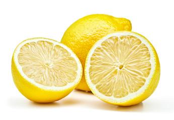 Wall Mural - fresh lemons isolated on white background