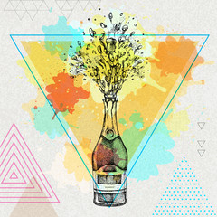 Hand drawing illustration of champagne bottle with splash on artistic polygon watercolor background