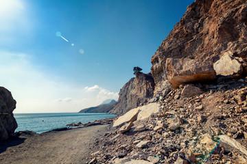 Wall Mural - Stone rocky coast of the Mediterranean Sea, Kos island, Greece, beautiful landscape