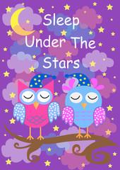 cute owls sleep under the stars, good night card. vector illustration