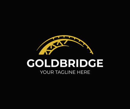 Golden bridge logo design. Abstract bridge vector design. Bridge construction logotype