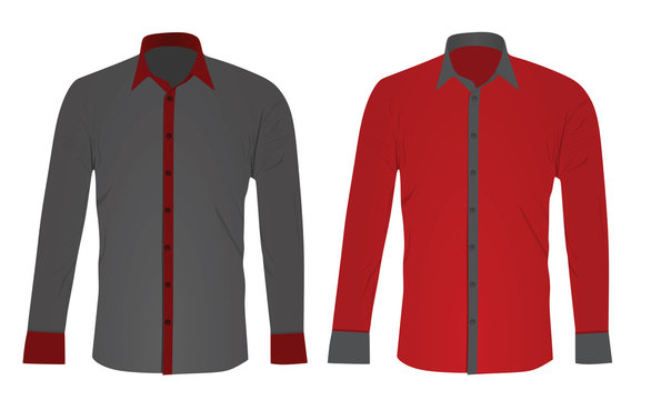 Grey and red long sleeved shirt. vector illustration
