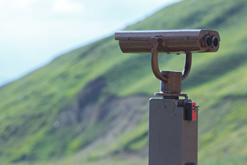Binoculars on a viewing platform for observing flora, fauna and landscape.