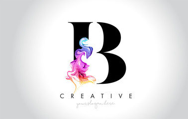 B Vibrant Creative Leter Logo Design with Colorful Smoke Ink Flowing Vector.