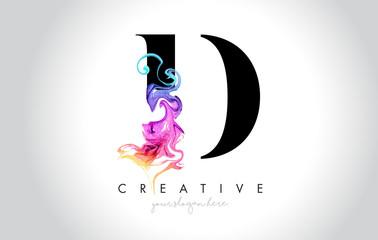 Fototapeta D Vibrant Creative Leter Logo Design with Colorful Smoke Ink Flowing Vector. obraz