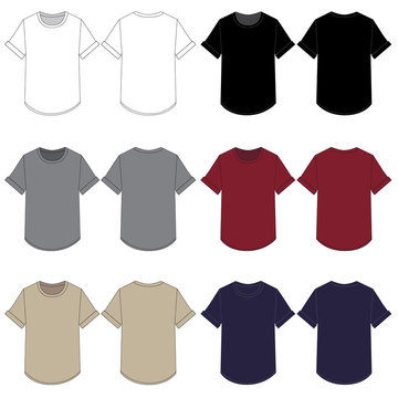 Vector Template for Rolled Sleeve Curve Hem Tee