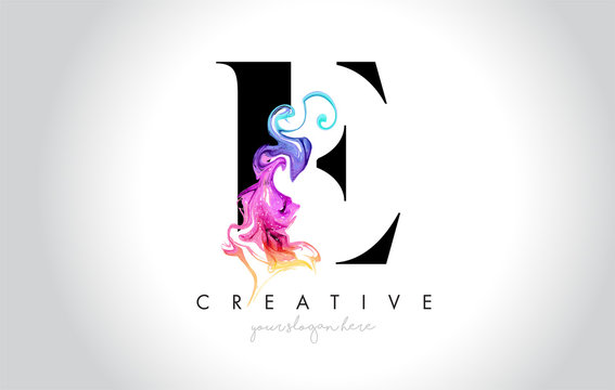 E Vibrant Creative Leter Logo Design with Colorful Smoke Ink Flowing Vector.