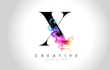 X Vibrant Creative Leter Logo Design with Colorful Smoke Ink Flowing Vector.