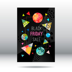 Frame black friday sale, super sale, weekend special offer banner template, colorful trendy geometric style, tropical floral poster, placard, print designs. Hand drawn vector illustration
