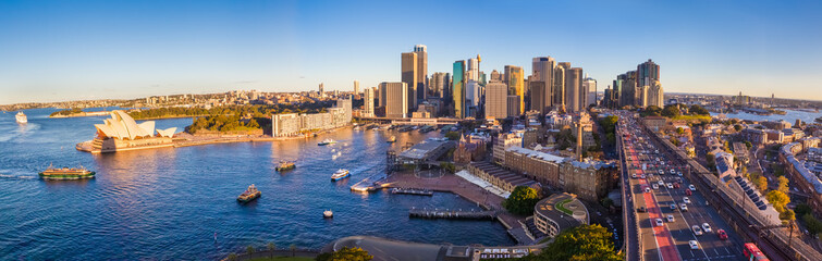 Panoramic view of Sydney with the business district and Opera House, Sydney, Australia