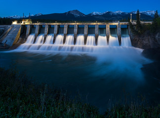 Seebe Hydroelectric Dam at Night Wall mural