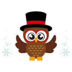 winter cartoon cute owl in hat