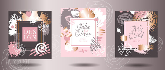 Frames rose gold brush strokes card. Art business cards, greeting wedding invitation design, doodles. sketch, grunge texture, brochure, cover template. Hand drawn vector illustration.