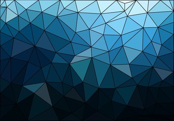 Dark blue polygonal texture with black stroke. Polygonal vector background.