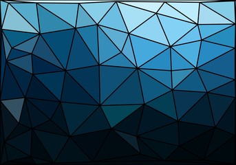 Dark blue polygonal texture with black contour. Polygonal vector background.