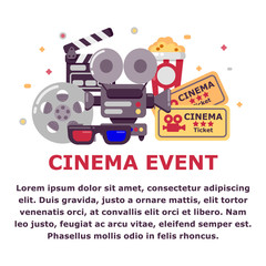 Cinema event design with place for text. Set of cinema icons in flat stile. Vector illustration.