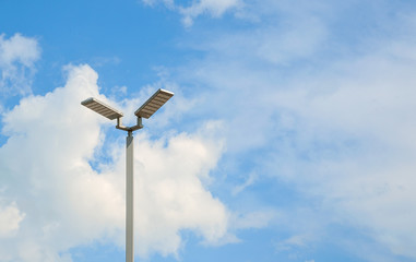 LED street lamps with energy-saving technology, cloud on sky background Fotomurales