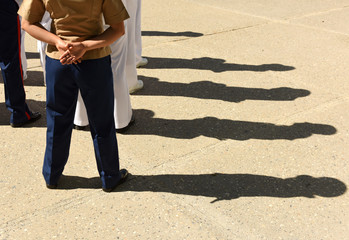 US Navy sailors from the back. US Navy army.