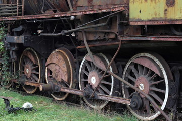 Train wheels, old, abandoned, rusty, Krakow, Plaszow